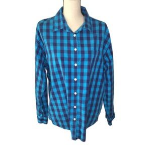 AEO Teal and Blue Plaid Boyfriend Fit Shirt XL
